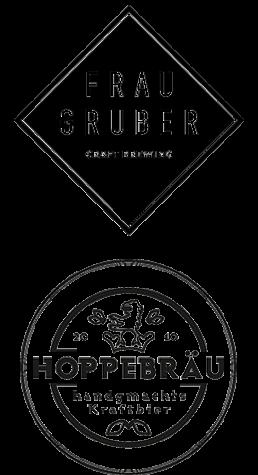 Frau Gruber x Hoppebräu logos