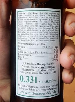 Nittenauer Wit alkoholfrei Etikett